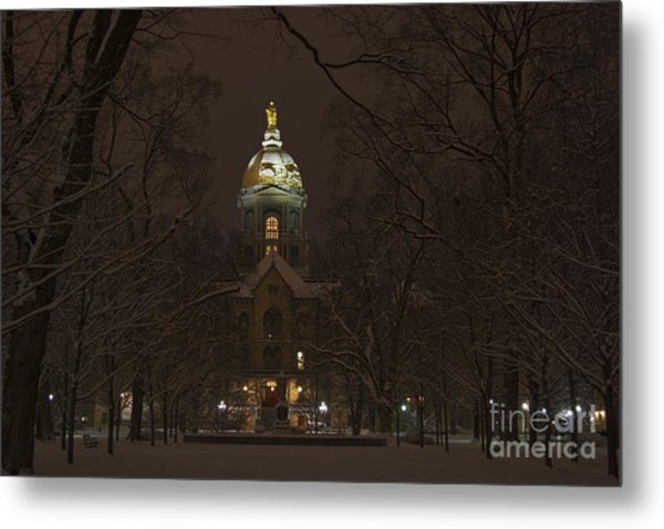 Notre Dame Golden Dome Snow Metal Print