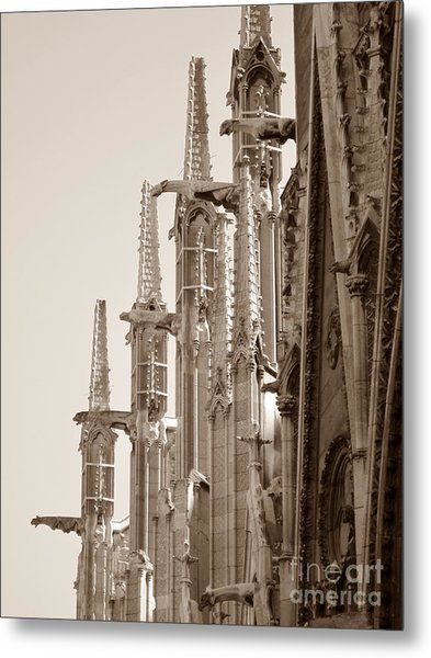 Notre Dame Sentries Sepia Metal Print