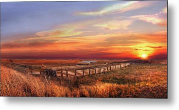November Sunset On The Cattle Pens Metal Print