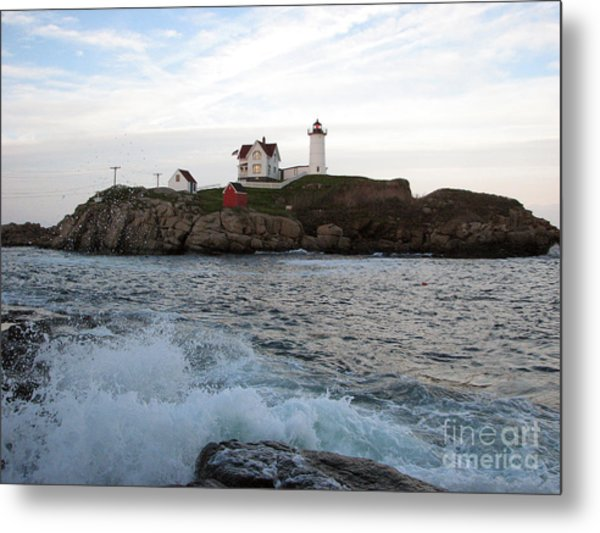 Nubble Light Landscape Metal Print
