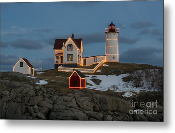 Nubble Lighthouse At Christmas Metal Print