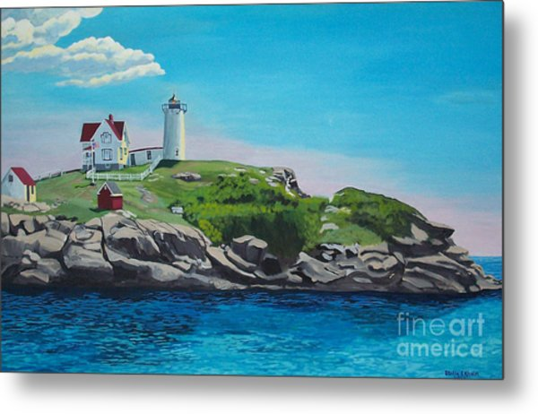 Nubble Lighthouse Sunrise Metal Print