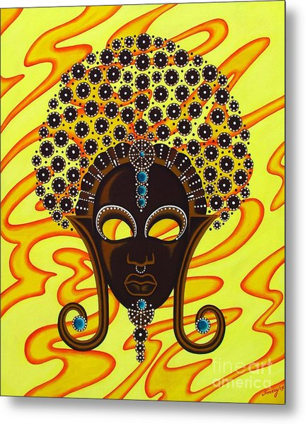 Nubian Modern Afro Mask Metal Print