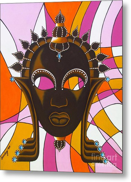 Nubian Modern Mask With Pink Metal Print