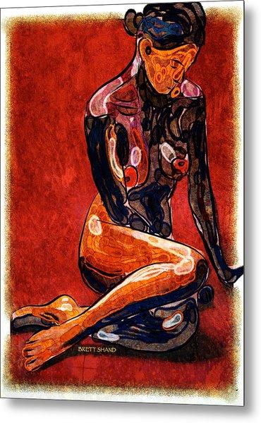 Nude - Woman Sitting Metal Print