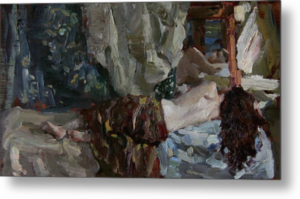 Nude Before The Mirror Metal Print by Korobkin Anatoly