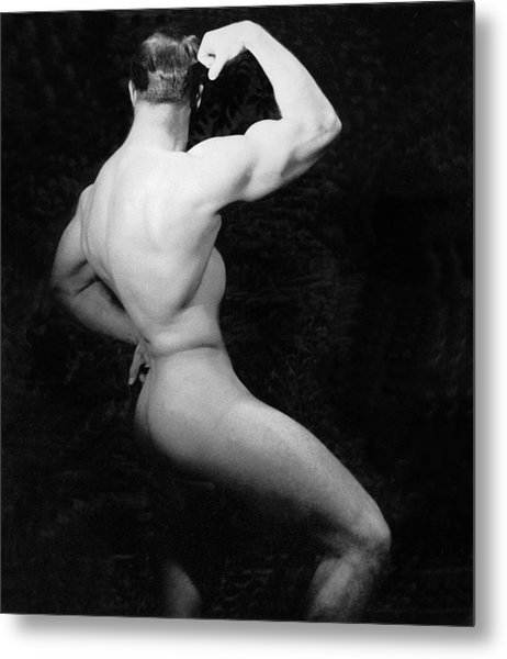 Nude Bodybuilder Side View Metal Print