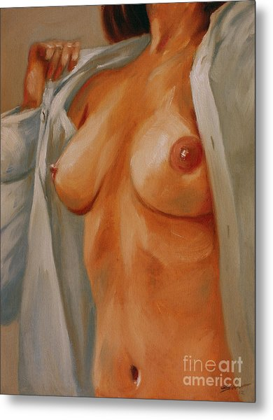Nude In Shirt I Metal Print