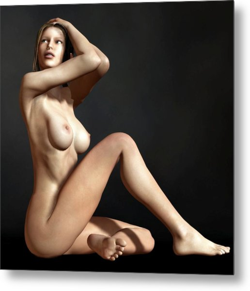 Nude On The Floor Metal Print