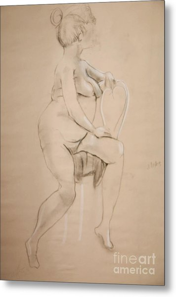 Nude Sits On White Chair Metal Print