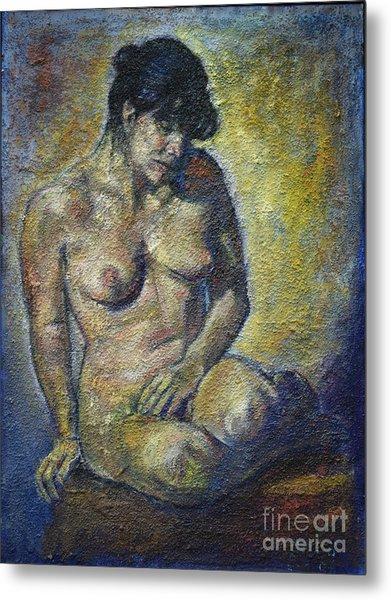 Sad - Nude Woman Metal Print