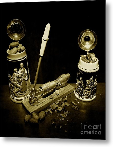 Nut Cracker With Steins Metal Print