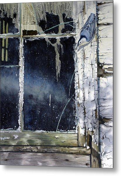 Nuthatch And Window Metal Print