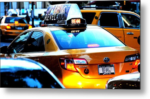Ny City Taxi Cab At Twilight Manhattan Metal Print by Ron Bartels