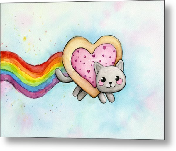 Nyan Cat Valentine Heart Metal Print