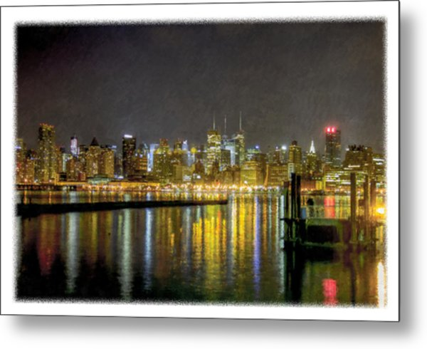 Nyc At Night Faux Oil Metal Print