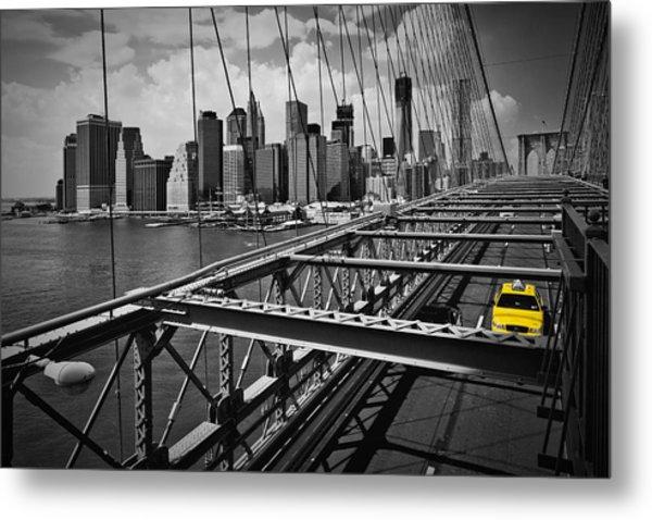 Nyc Brooklyn Bridge View Metal Print by Melanie Viola