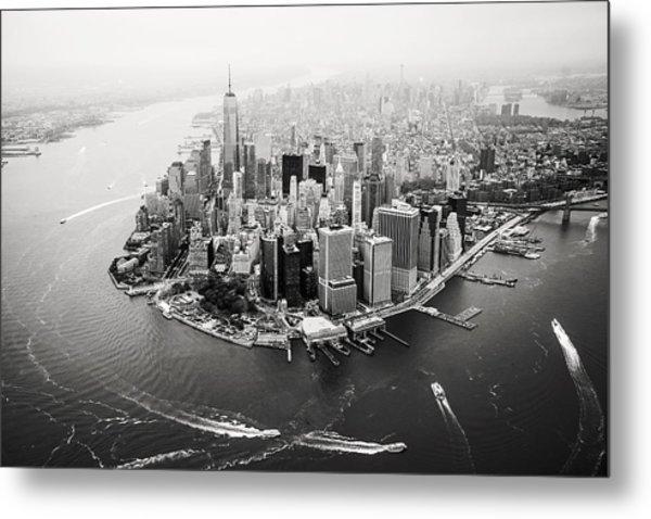 Nyc Manhattan Aerial Metal Print