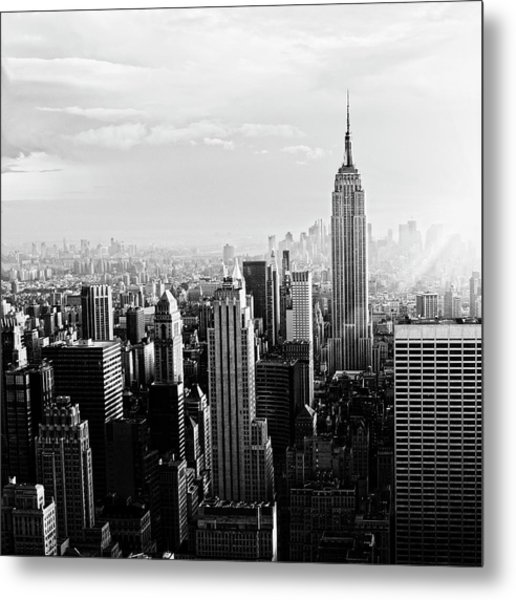 Nyc Skyline.black And White Metal Print by Lisa-blue