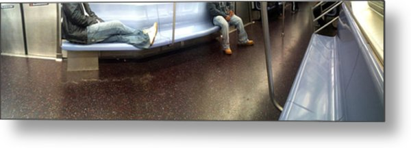 Nyc Subway At Night Metal Print