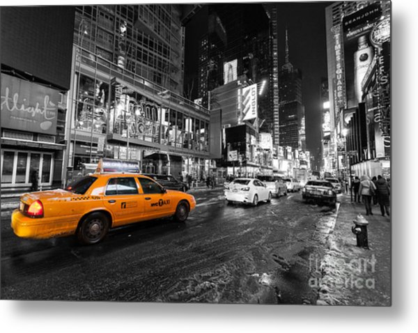Nyc Taxi Times Square Color Popped Metal Print