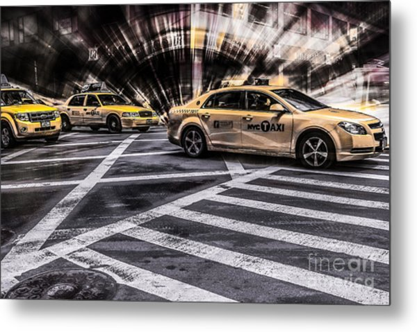 Nyc Yellow Cab On 5th Street - White Metal Print