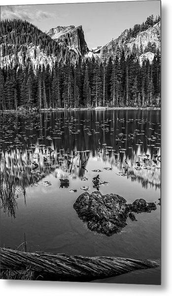 Nymph Lake Sunrise Black And White Metal Print
