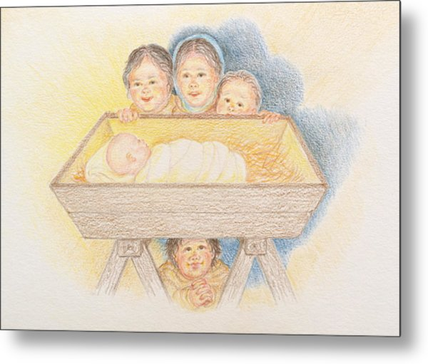O Come Little Children - Christmas Card Metal Print
