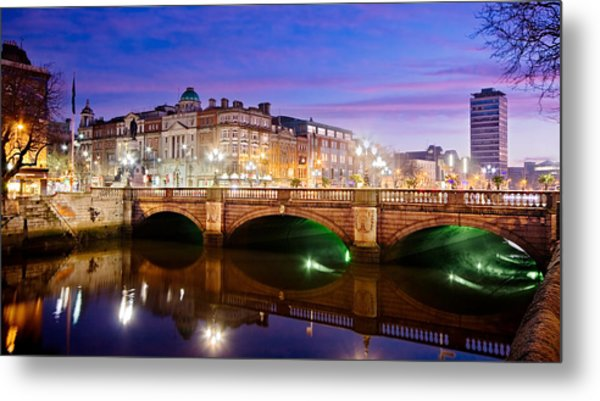 Metal Print featuring the photograph O Connell Bridge At Night - Dublin by Barry O Carroll