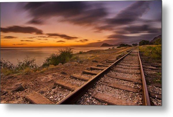 Oahu Rail Road Track Sunset Metal Print