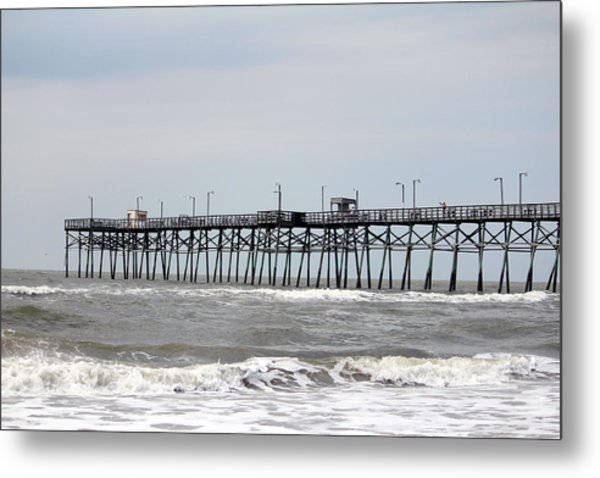 Oak Island Beach Pier Metal Print