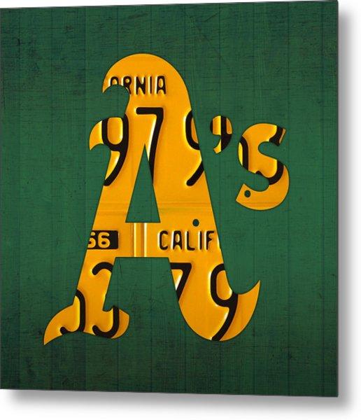 Oakland Athletics Vintage Baseball Logo License Plate Art Metal Print