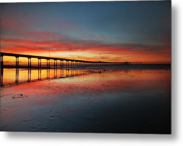 Ocean Beach California Pier 3 Metal Print by Larry Marshall