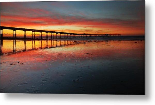 Ocean Beach California Pier 3 Panorama Metal Print by Larry Marshall