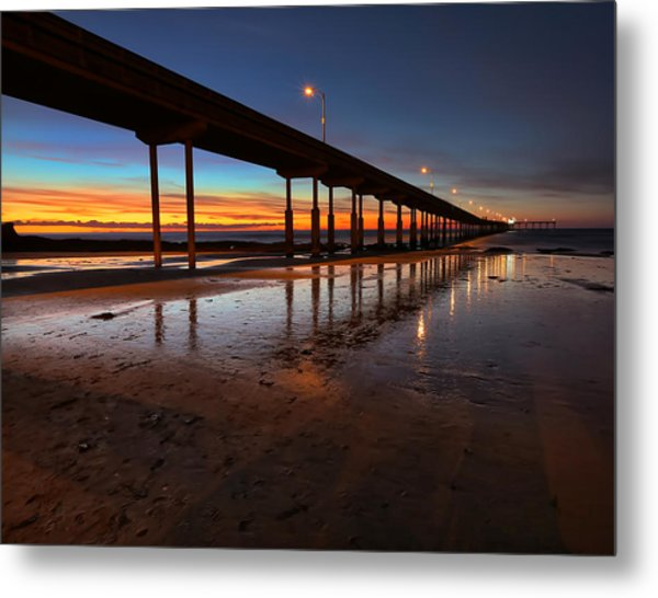 Ocean Beach California Pier 4 Metal Print by Larry Marshall