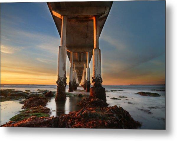 Ocean Beach California Pier Metal Print by Larry Marshall
