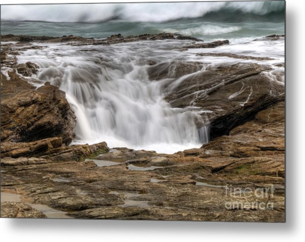 Ocean Cascade Metal Print by Eddie Yerkish