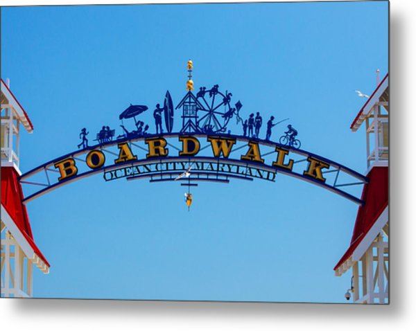 Ocean City Boardwalk Arch Metal Print