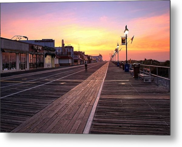 Ocean City Boardwalk Sunrise Metal Print