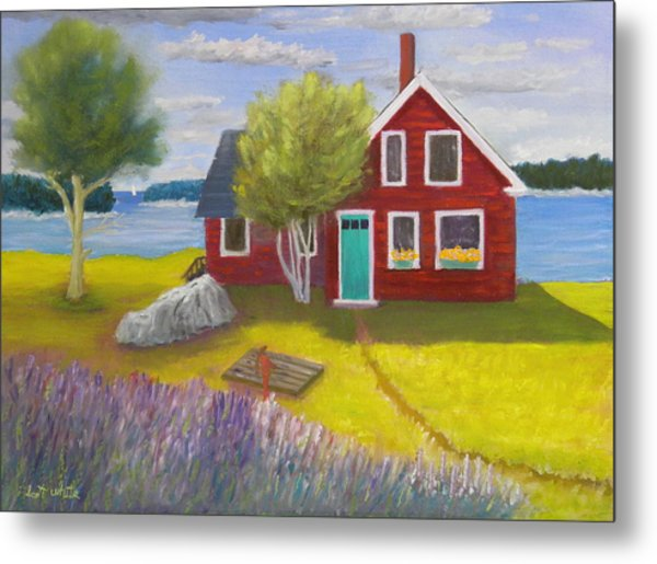 Ocean Cottage Metal Print