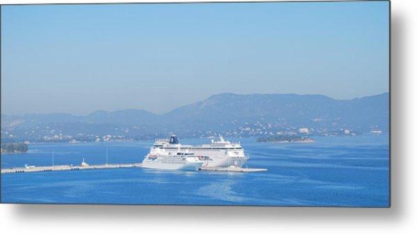 Ocean Liners In Corfu Metal Print