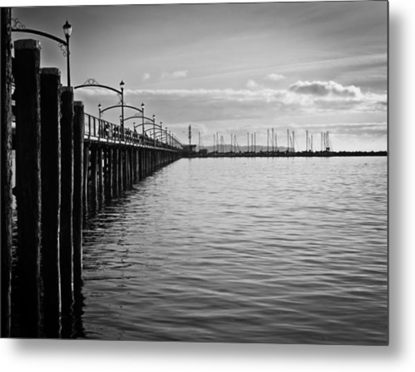Ocean Pier In Black And White Metal Print