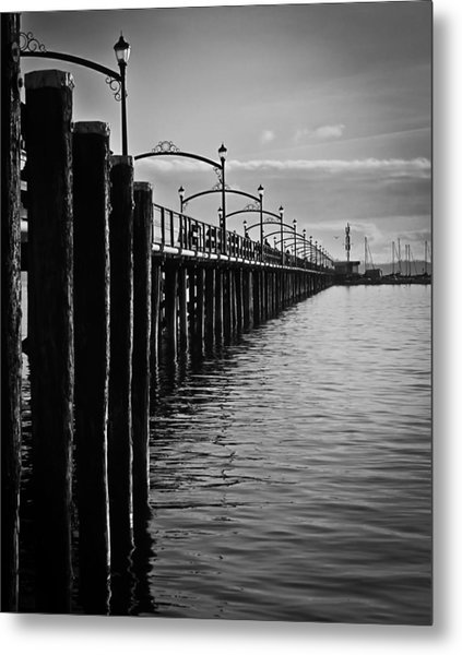 Ocean Pier In Black And White II Metal Print