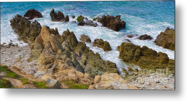 Ocean Rocks In Puerto Vallarta Mexico Metal Print