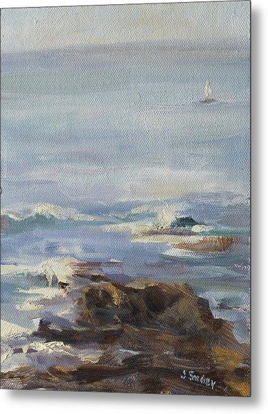 Ocean Rocks With Sailboat Metal Print