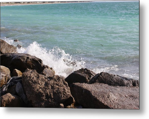 Ocean Spray On Rocks Metal Print