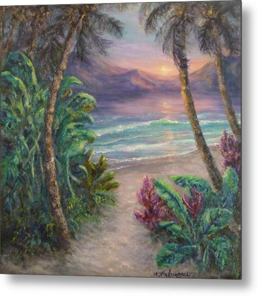 Ocean Sunrise Painting With Tropical Palm Trees  Metal Print