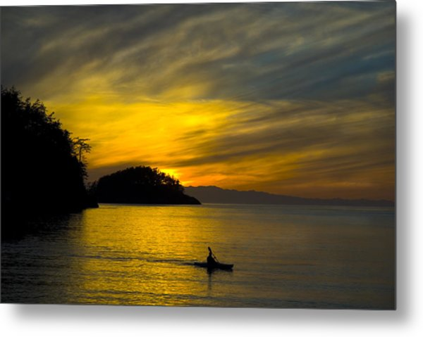 Ocean Sunset At Rosario Strait Metal Print