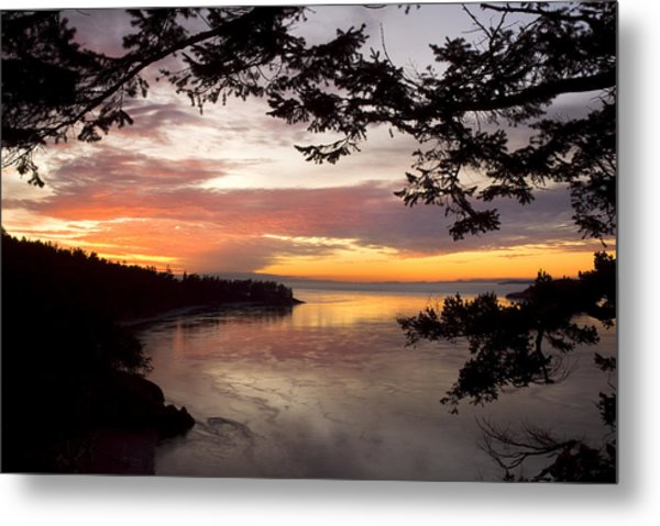 Ocean Sunset Deception Pass Metal Print