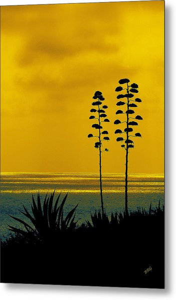 Ocean Sunset With Agave Silhouette Metal Print